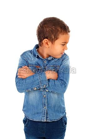 sad child with denim shirt