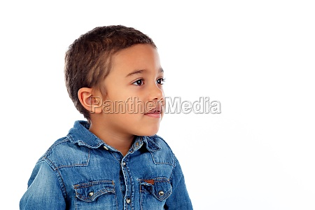 funny small child with denim t