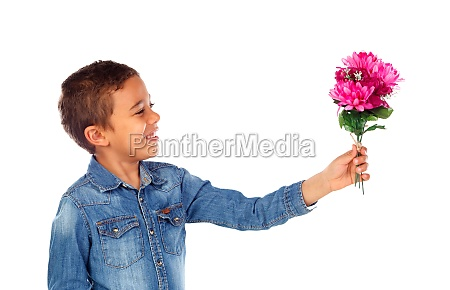 happy boy with a beautiful bouquet