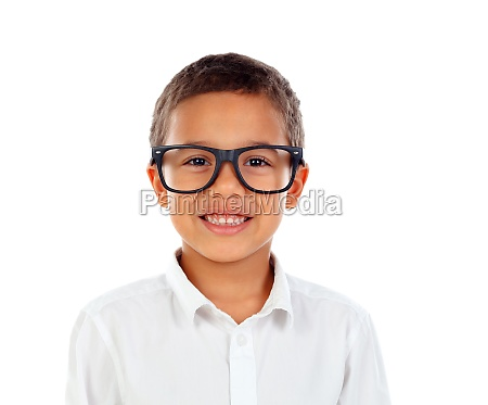 funny child with big glasses laughing