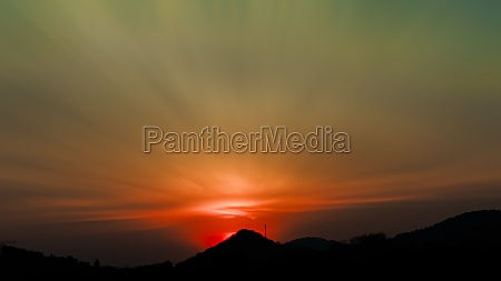 long exposure colorful sunset over the