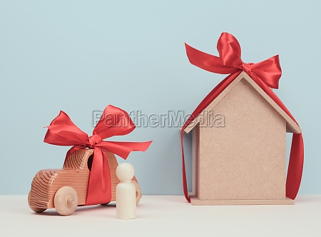 wooden house and car with miniature