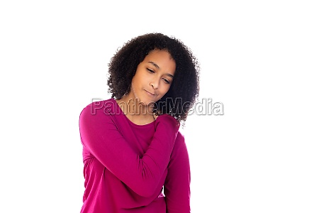 teenager girl with afro hair wearing