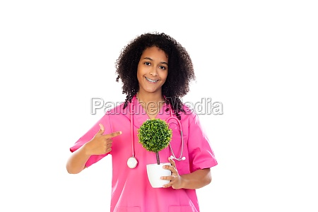 adorable little doctor with pink uniform