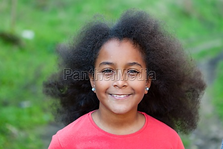 pretty girl with long afro hair