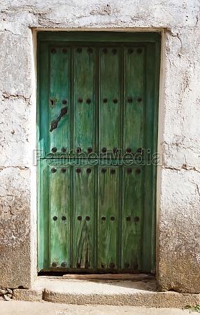 red door weathered wood