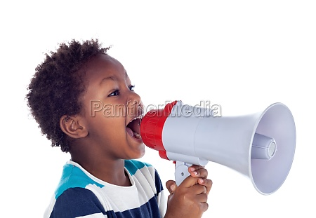 small boy shouting through a megaphone