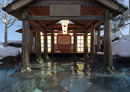 3d rendering japanese winter spa
