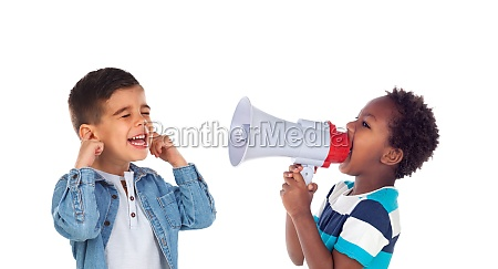 funny children playing with a megaphone