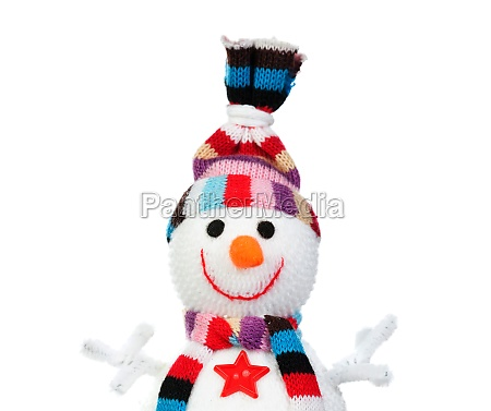snowman made of wool isolated on