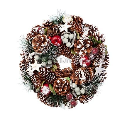 delicate christmas wreath of pine cones