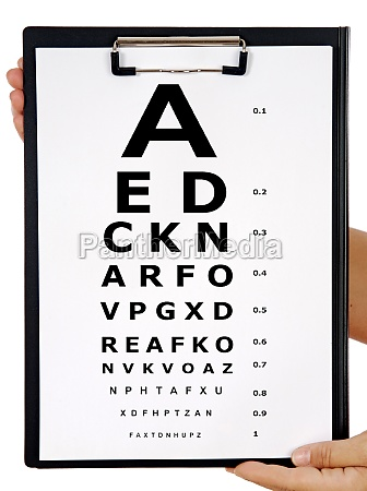 vision exam chart on a folder