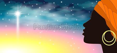 silhouette woman sky star