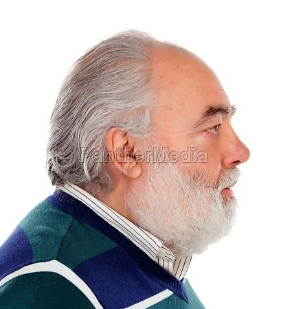 profile of a serious senior man
