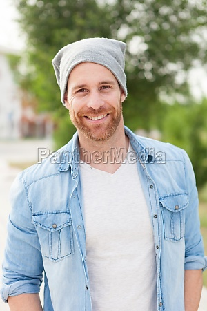 casual guy with a denim shirt
