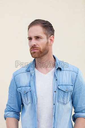 attractive guy with denim shirt