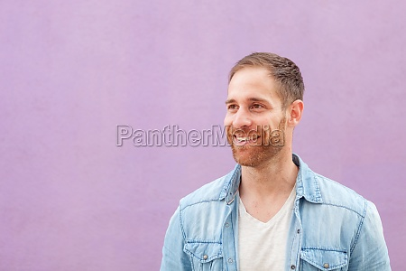 attractive casual man with denim shirt
