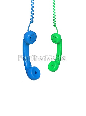 blue and green phones hanging from