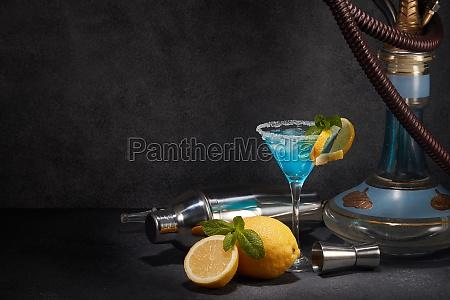 hookah shisha and glass of blue