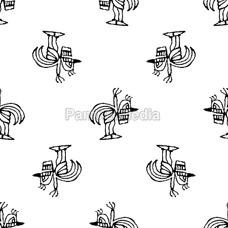 black and white sketchy birds motif