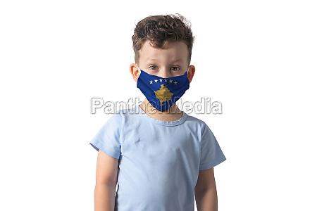 respirator with flag of kosovo white