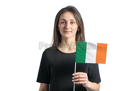 happy young white girl holding ireland