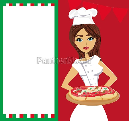 smiling waitress serving pizza place for