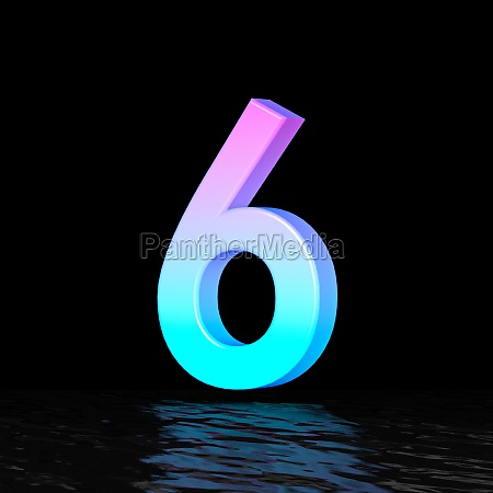 cyan magenta font number 6 six