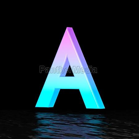 cyan magenta font letter a 3d