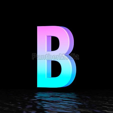 cyan magenta font letter b 3d