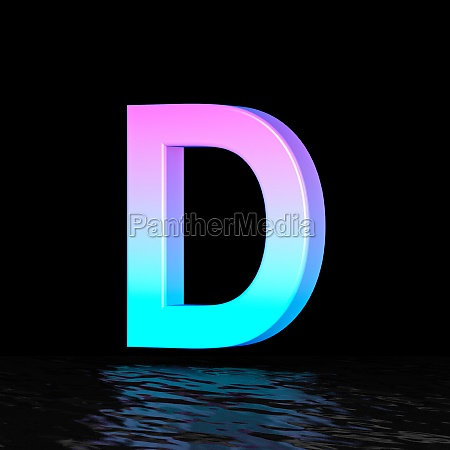 cyan magenta font letter d 3d