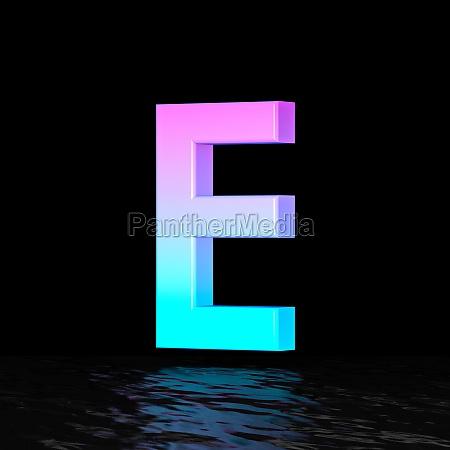 cyan magenta font letter e 3d