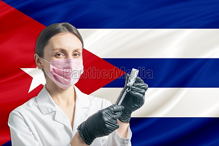 girl doctor prepares vaccination against the