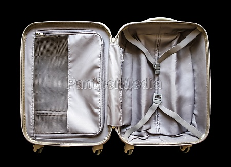 open travel modern suitcase isolated on