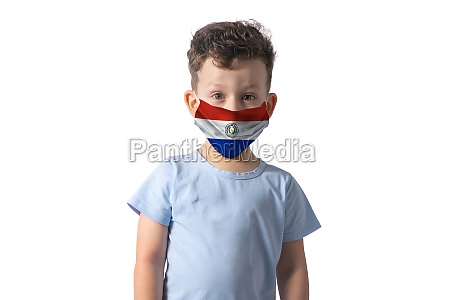 respirator with flag of paraguay white