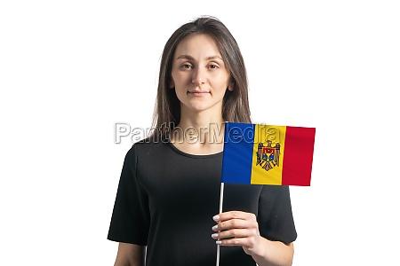 happy young white girl holding moldova