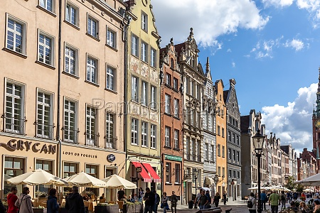 the facades of the restored gdansk