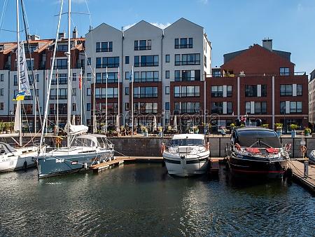 motorboats and sailboats at the marina