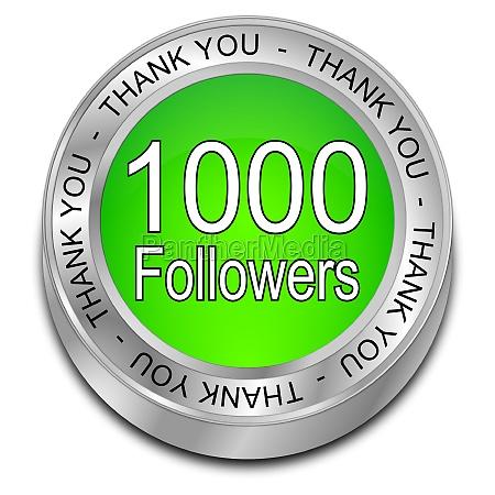 1000 followers thank you green