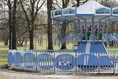 closed carousel in hirschgarten park in