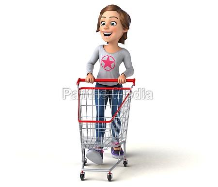 fun 3d cartoon teenage girl shopping