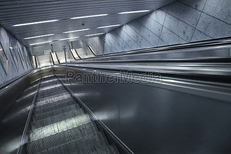empty stairway and escalator at a