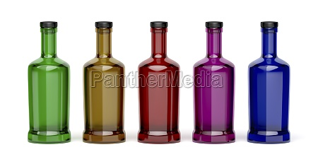 different colored glass bottles
