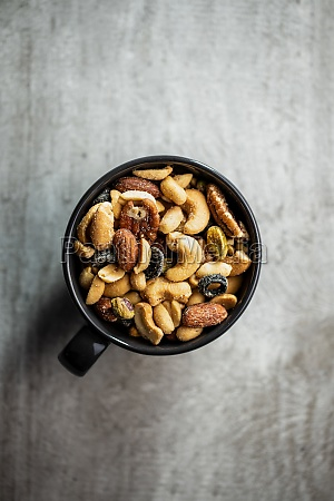 mix of salted nuts in cup