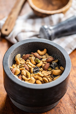 mix of salted nuts in bowl