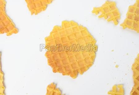 baked round belgian waffles on white