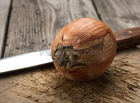 round whole onions in brown huskon