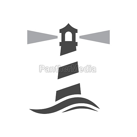 lighthouse with sea wave black vector