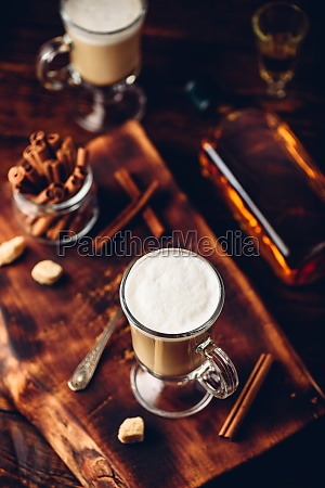 irish coffee in drinking glass
