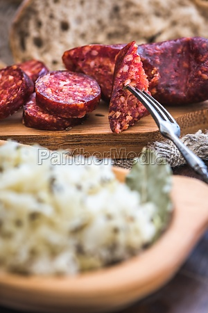 farmers breakfast sausage and sour cabbage